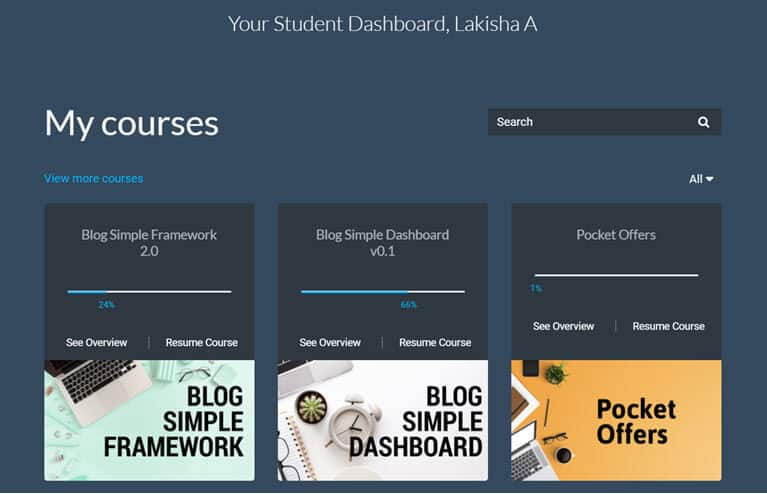 Blog Simple FrameWork Dashboard