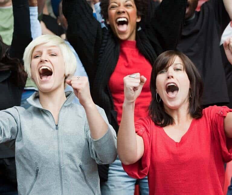 Two Women Fans Cheering