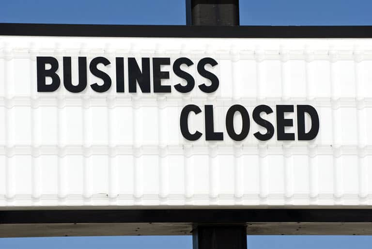 A Sign That Says Business Closed