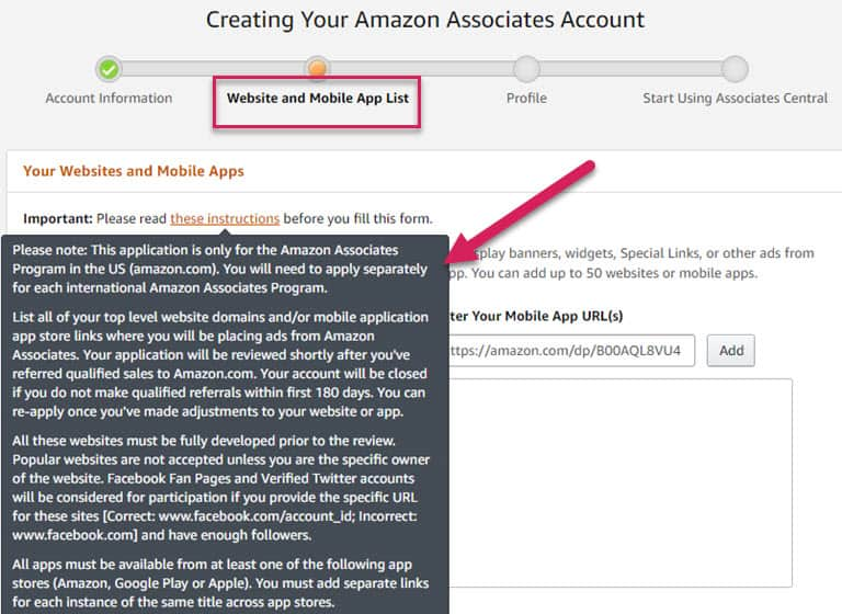 Amazon Associates Sign Up Form