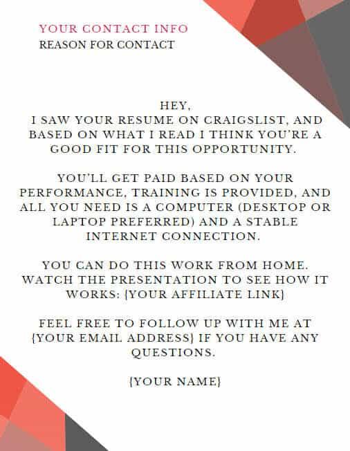 Craigslist Letter For Job Opportunity