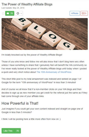 The Power Of Wealthy Affiliate Blogs