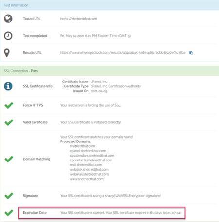 Why No Pad Lock Says SSL Expiring